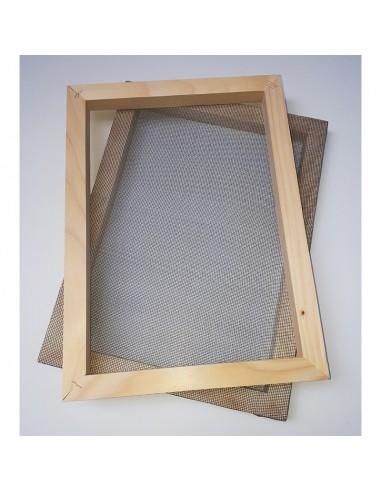 Tamis et cadre de calibrage pour la fabrication du papier. Tamis de pâte à papier disponibles au format A3, A4 et A5.