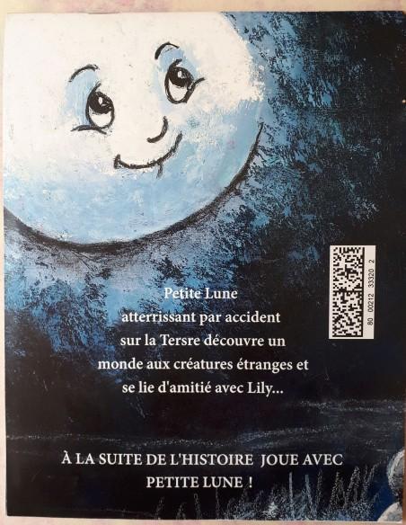 Reverso del libro infantil Les aventures de Petite Lune.