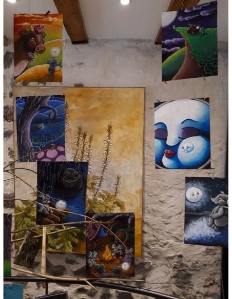 Dessins originaux exposés à l'atelier boutique L'Arcade de Gutenberg 66 rue Chaussade Le Puy en Velay (Haute-Loire)