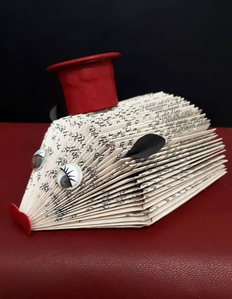 Baby hedgehog created in paper with leather hat, ears and muzzle. Unique handcrafted piece. Home decor.