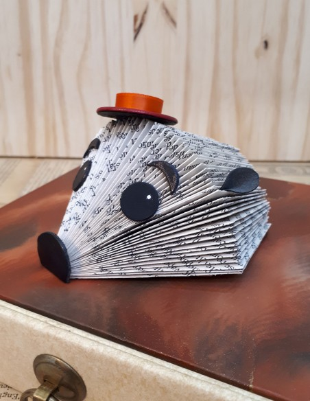 Baby hedgehog with boater hat
