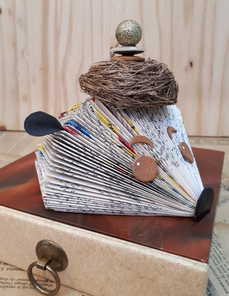 Hedgehog paper creation with bird's nest hat. Home decor