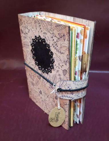 Carnet journal intime fabrication artisanale - Fait-main - Carnet Noisette. 1ere de couverture