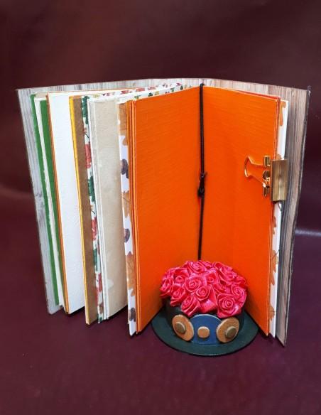 Carnet journal intime fabrication artisanale - Fait-main - Carnet Noisette. Pages intérieures