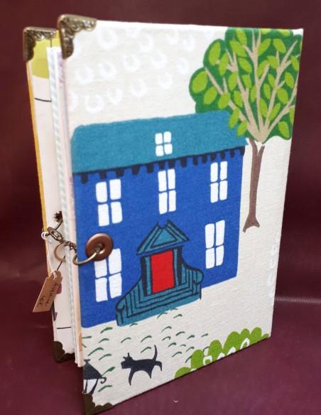Cuaderno de viaje de aventura hecho a mano - Hecho a mano - Funda de tela y cartón