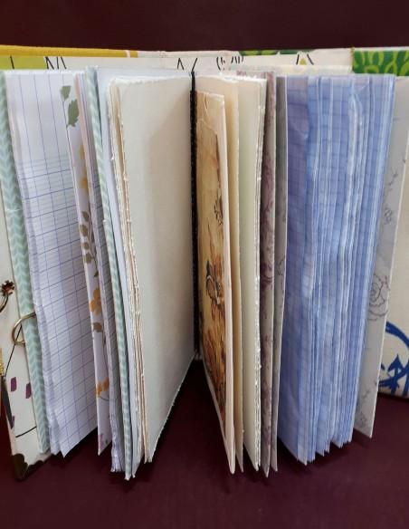 Libro de viajes de aventuras hecho a mano, hecho a mano, con páginas desplegadas.