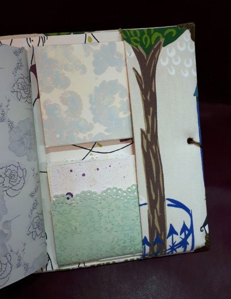 Handcrafted Adventure travel notebook - Handmade - Mini notebooks inserted in a pocket on the back cover.
