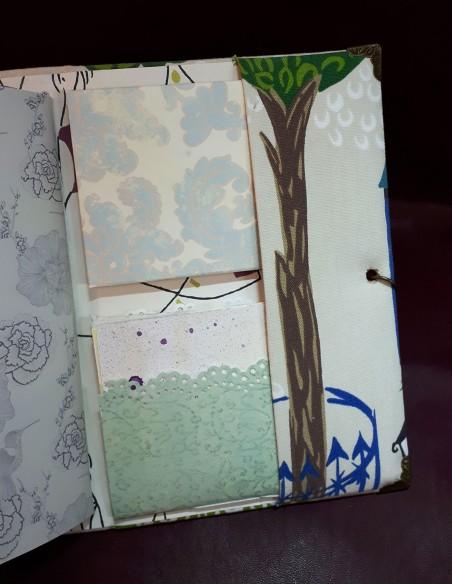 Carnet de voyage Aventure fabrication artisanale - Fait-main - Minis carnets insérés dans une poche de la 3ème de couverture.