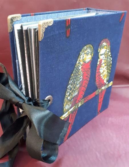 Séraphin travel diary. Handmade pocket travel diary. Black self ribbon closure.