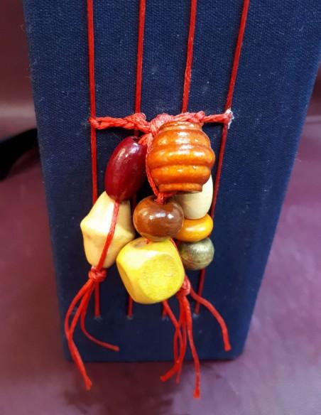 Séraphin travel diary. Handmade pocket travel diary. Lot of fancy beads.