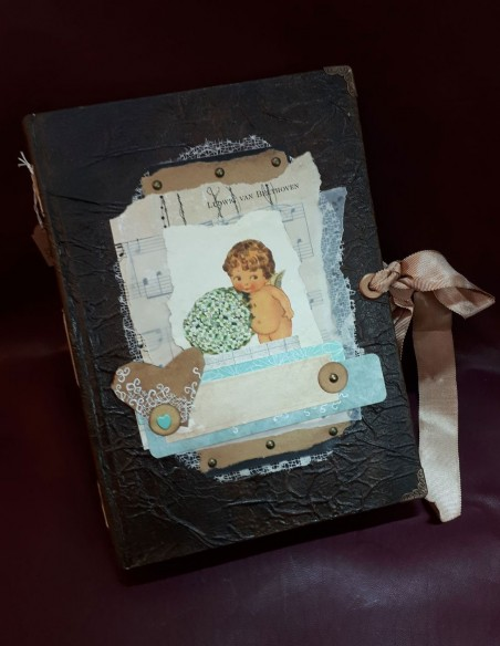 Handmade Cherub notebook by Nubiya Design. Vintage look notebook.
