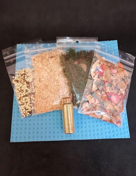 Echantillons du kit de fabrication de feuilles de papier.