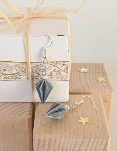 Boucles d'oreille origami Diamant