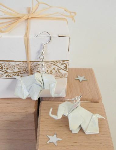 Boucles d'oreille Origami Eléphant
