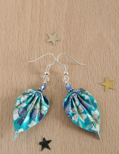 Boucles d'oreille Origami Feuille