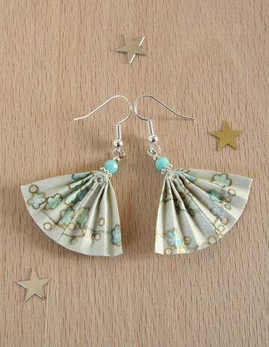 Boucles d'oreille Origami Ginkgo