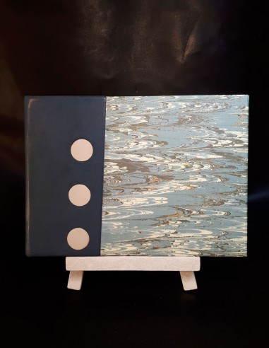White notebook in blue sheepskin...