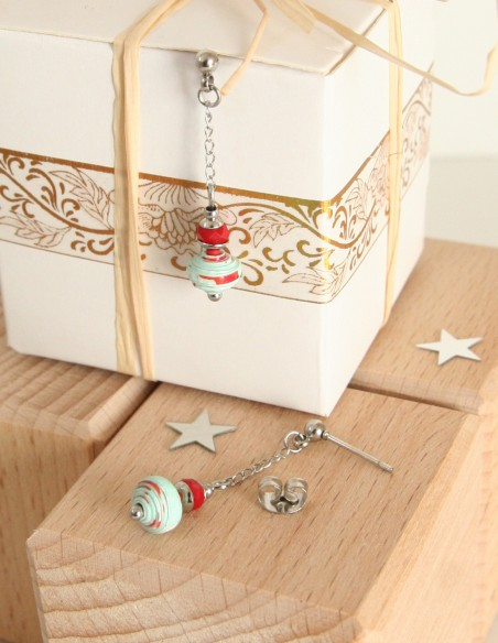 Stainless steel & quilling earrings - Small seeds