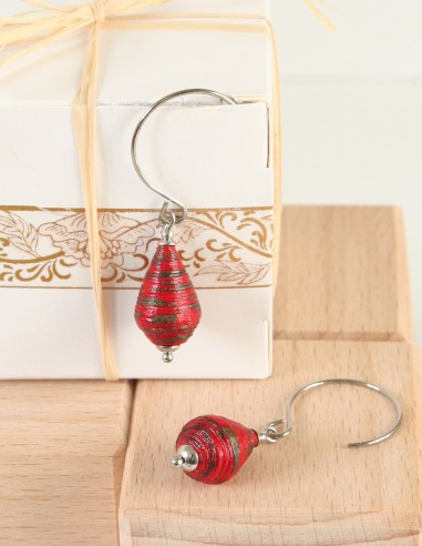 Boucles d'oreille inox Quilling Lampion