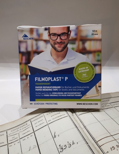 Filmoplast P - Reparación de papeles rotos. Restauración de papel. Arreglo de páginas libres.