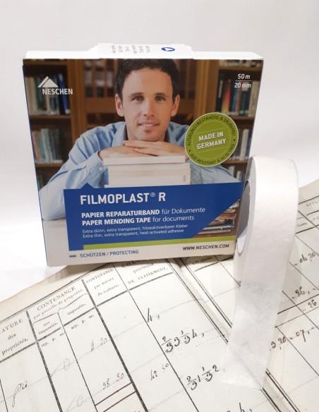 Thermo-adhesive transparent Filmoplast® R: repair of torn paper.
